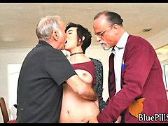 performing oral sex on old men in front of the camera