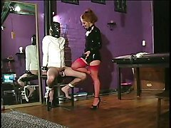 Mistress in latex & nylons taking care of her slaves big dick