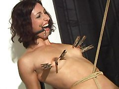 ring gagged slave rides pussy rope