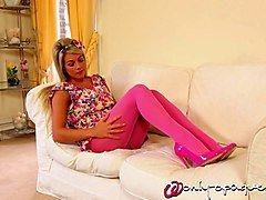 blonde girl in pink pantyhose