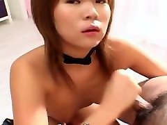 asian bitch gets to suck on the small dick