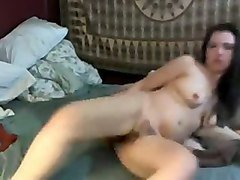 awesome hairy brunette nympho used dildo to polish her own pussy