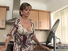 cheating british mature lady sonia showcases her large tits