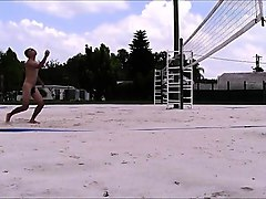 naked volleyball training