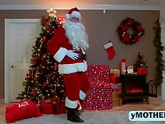 Santa Gets Dick Polished By Two Hotties