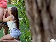 Sexy lady gets anal banged in the garden