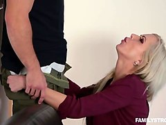 busty blonde milf banged by her stepson