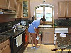 mature blonde shows latina maid
