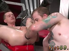 nasty butt pirate gets his asshole fist fucked hard